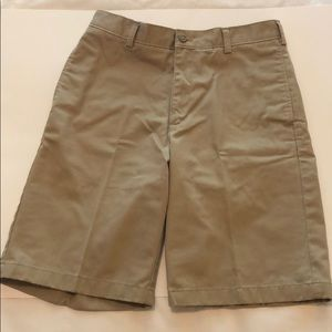Lands End Khaki Flat Front Shorts